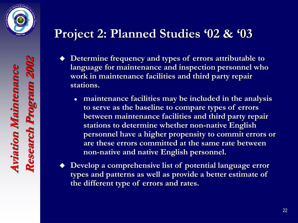 Project 2: Planned Studies '02 & '03