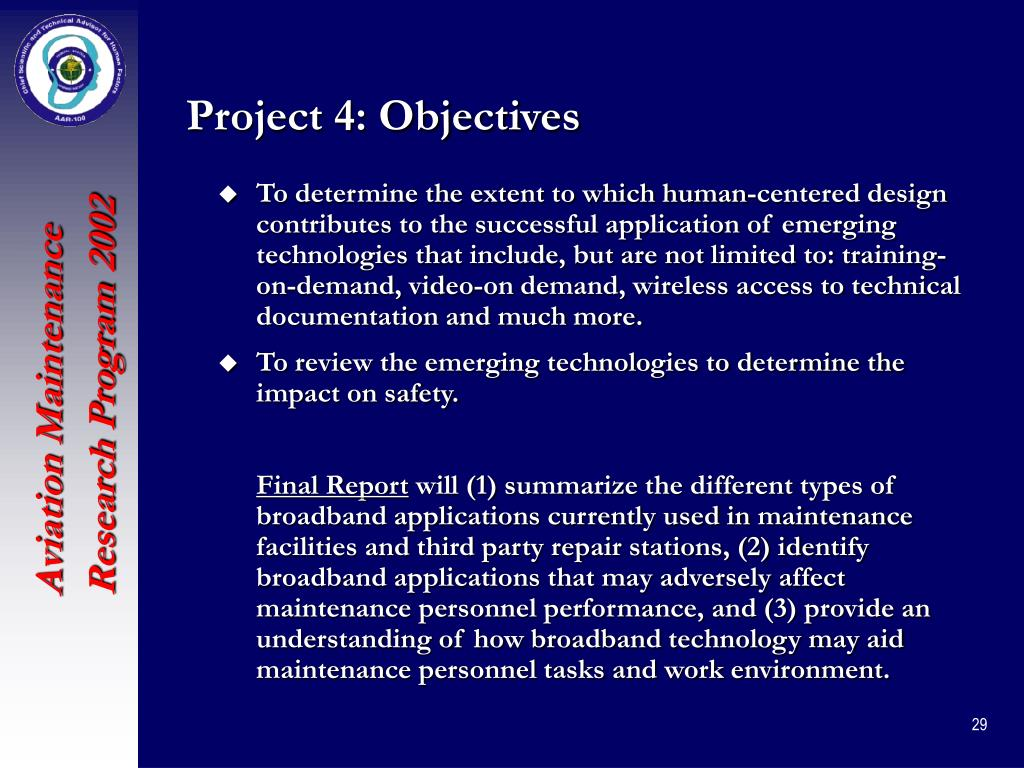 Project 4: Objectives