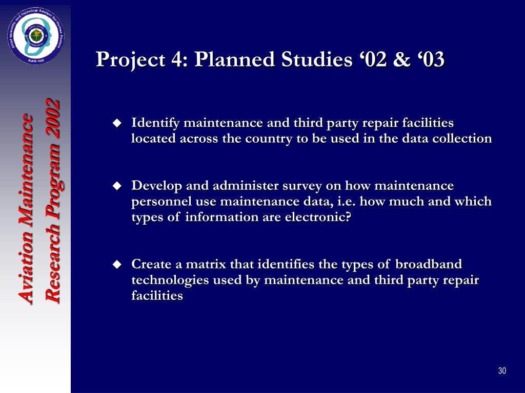 Project 4: Planned Studies '02 & '03