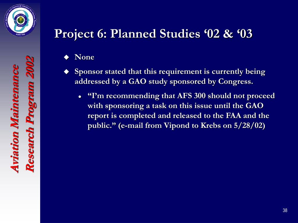 Project 6: Planned Studies '02 & '03