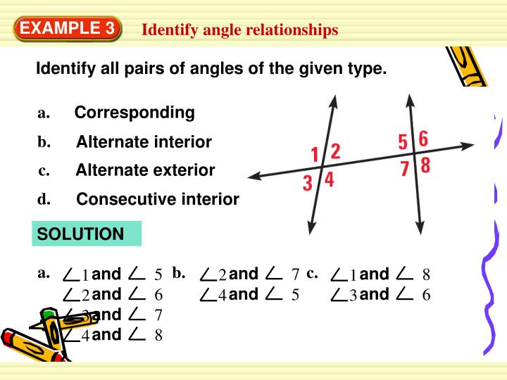 Identify all pairs of angles of the given type.