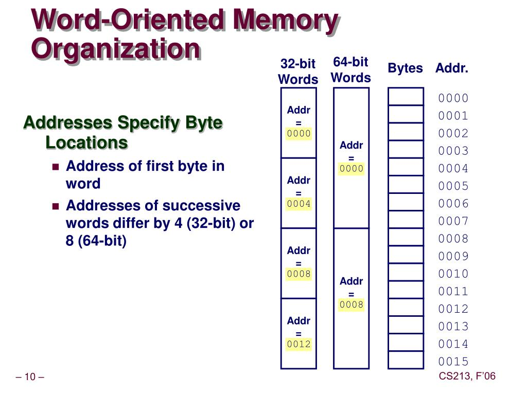 Word-Oriented Memory Organization