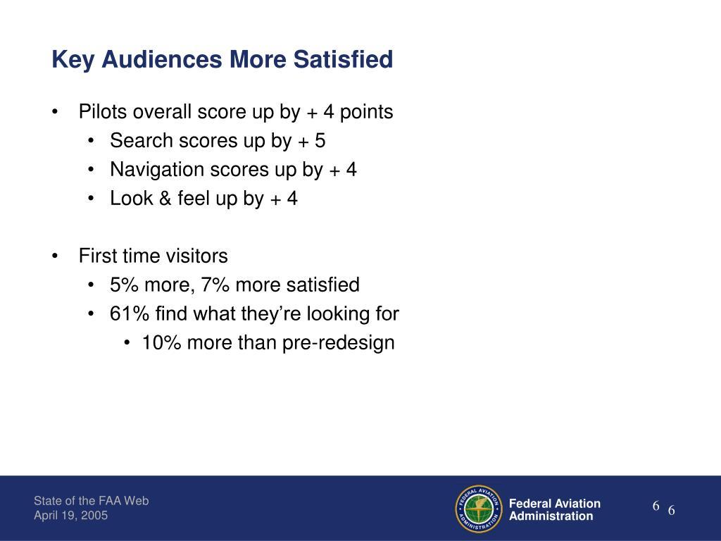Key Audiences More Satisfied