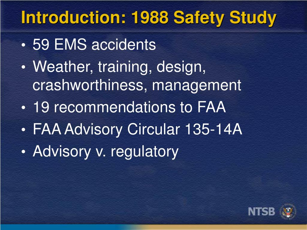 Introduction: 1988 Safety Study