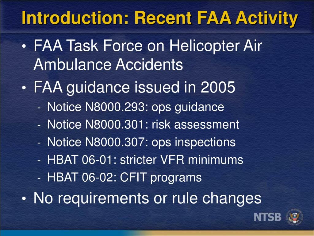 Introduction: Recent FAA Activity