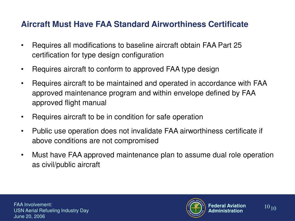 Aircraft Must Have FAA Standard Airworthiness Certificate