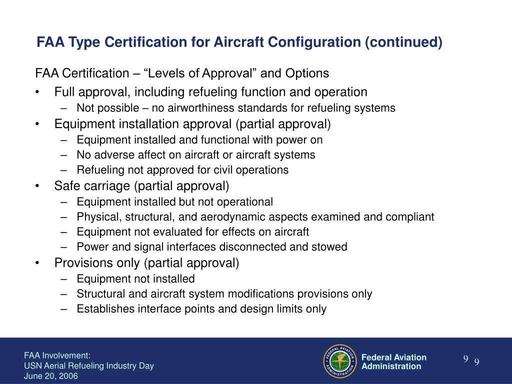 FAA Type Certification for Aircraft Configuration (continued)