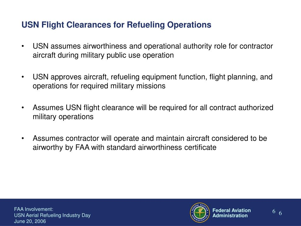 USN Flight Clearances for Refueling Operations