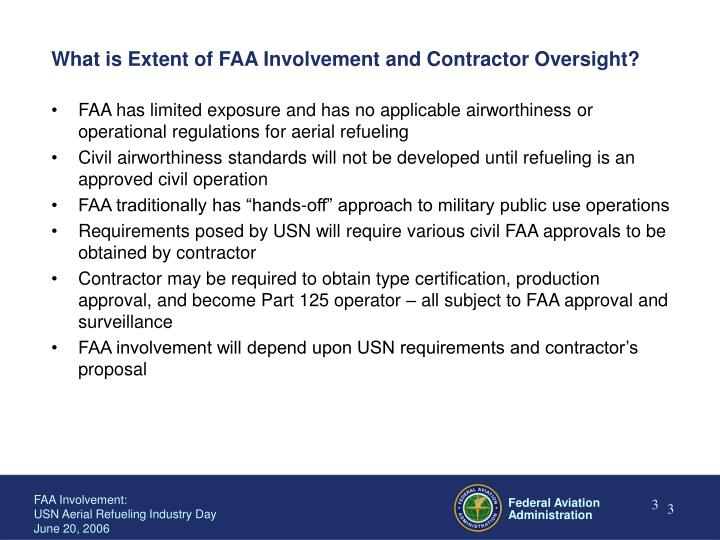 What is extent of faa involvement and contractor oversight