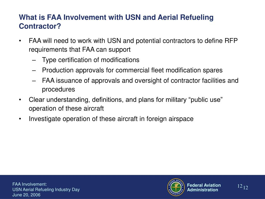 What is FAA Involvement with USN and Aerial Refueling Contractor?