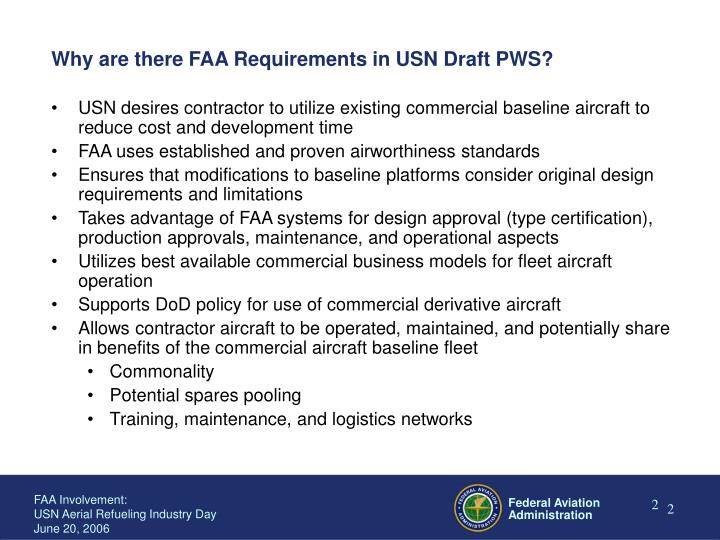Why are there faa requirements in usn draft pws