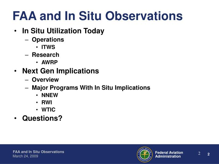 Faa and in situ observations