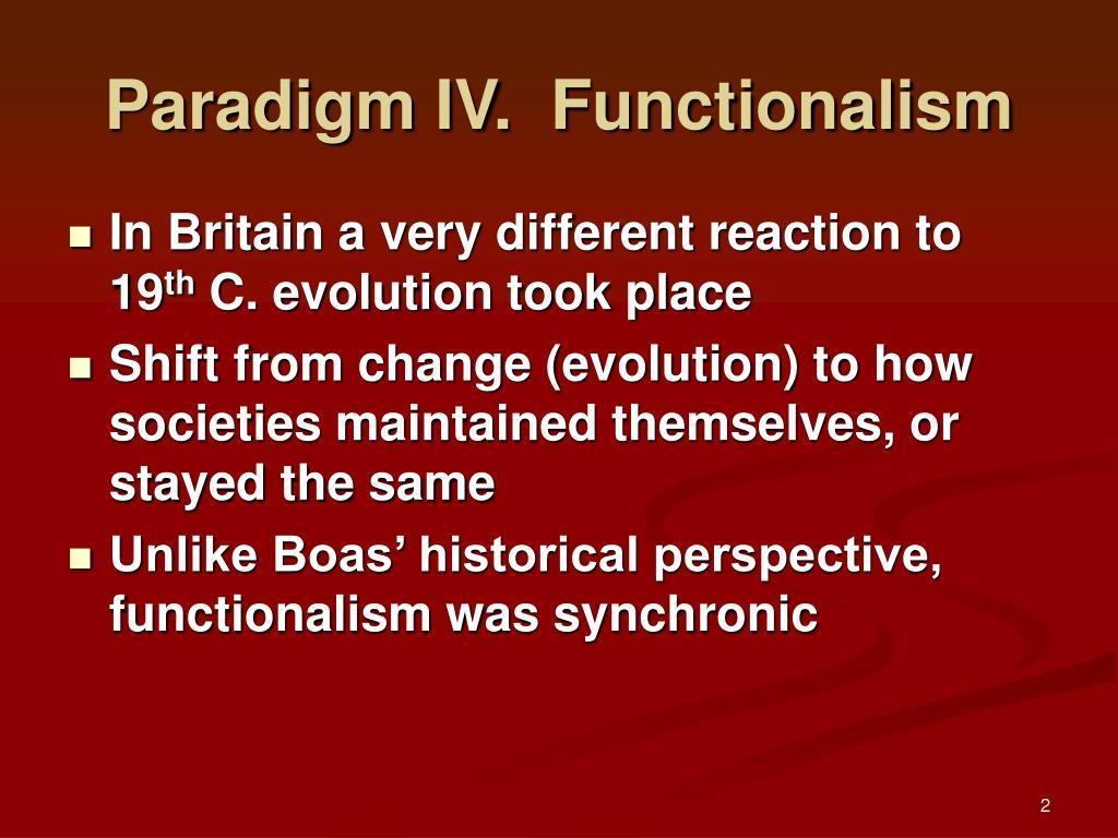 Paradigm IV.  Functionalism