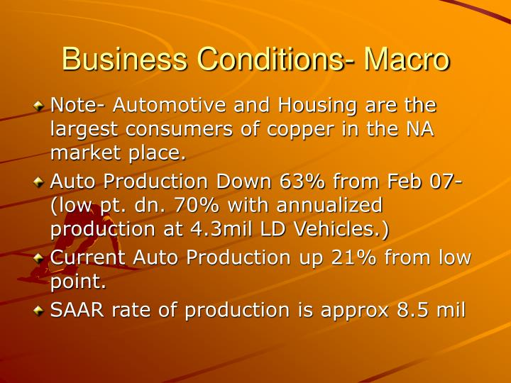 Business conditions macro