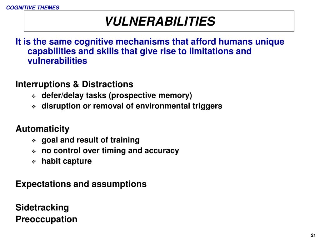 COGNITIVE THEMES