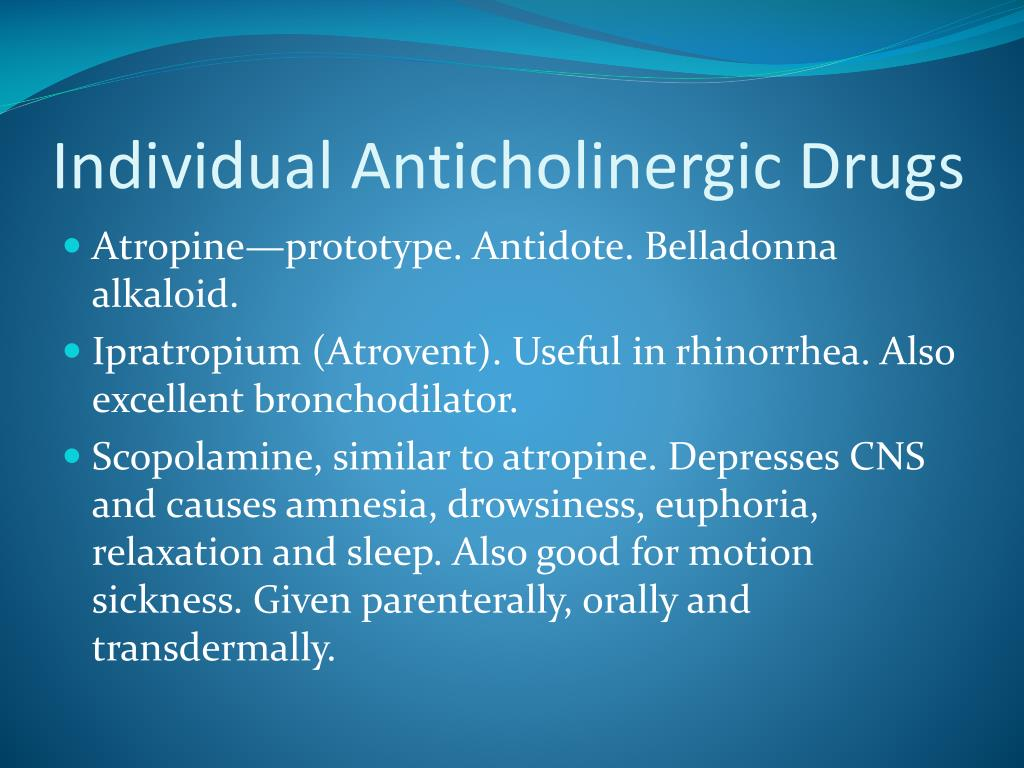 Individual Anticholinergic Drugs