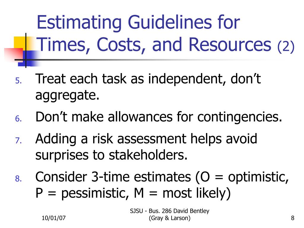 Estimating Guidelines for      Times, Costs, and Resources