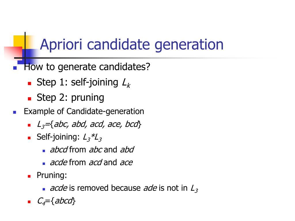 Apriori candidate generation
