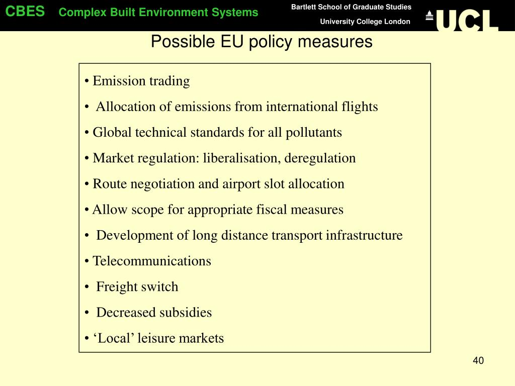 Possible EU policy measures