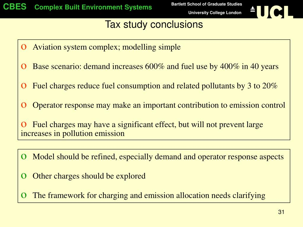 Tax study conclusions