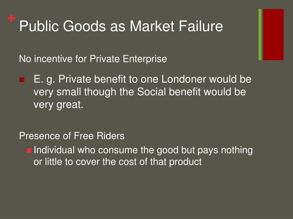 Public Goods as Market Failure