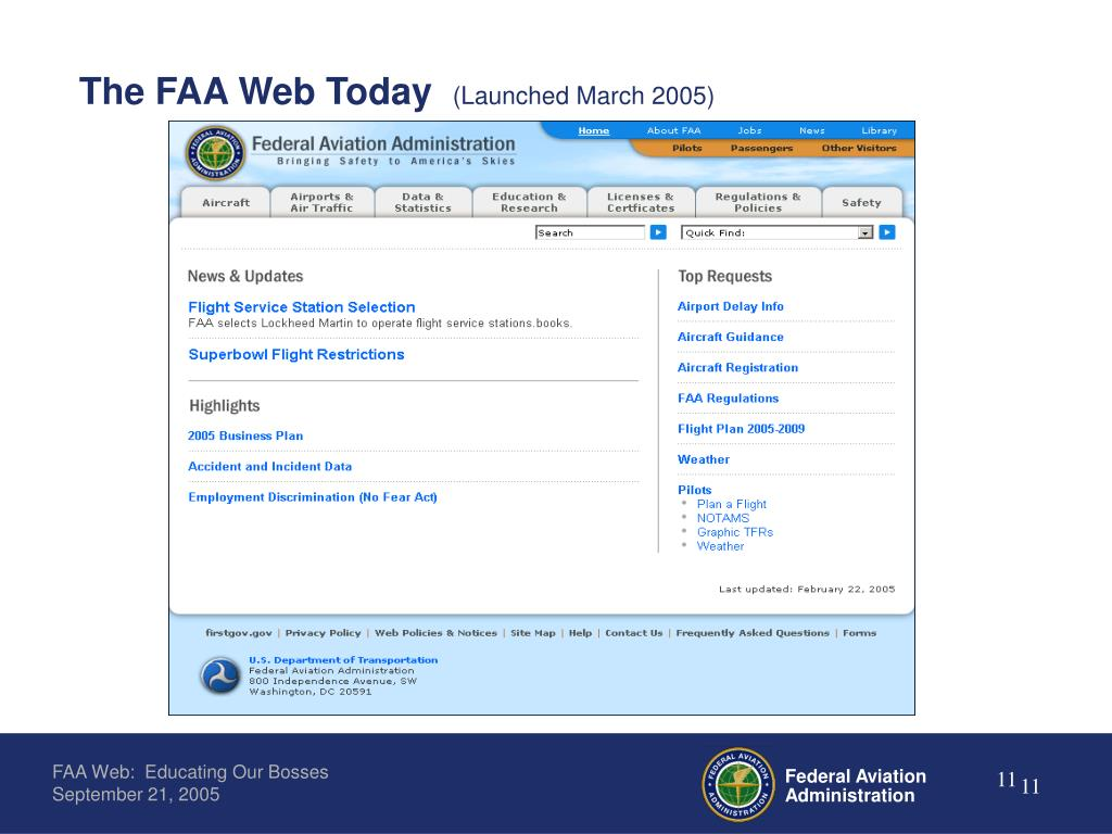 The FAA Web Today