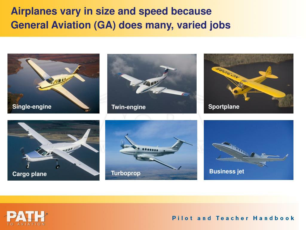 Airplanes vary in size and speed because