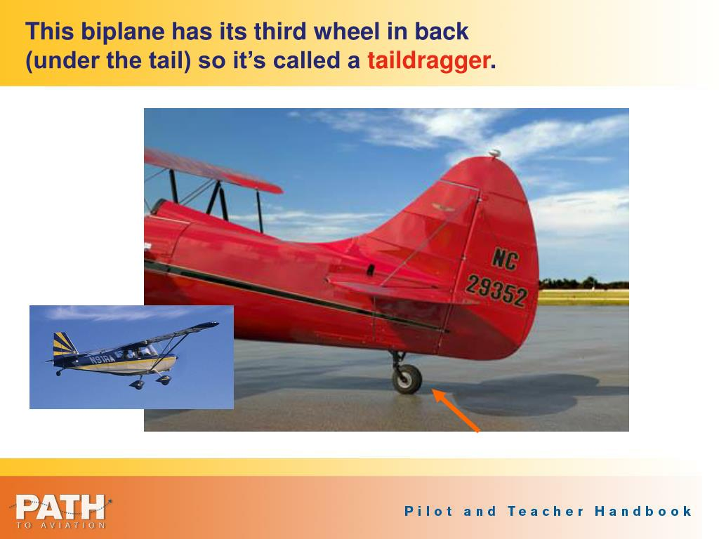 This biplane has its third wheel in back