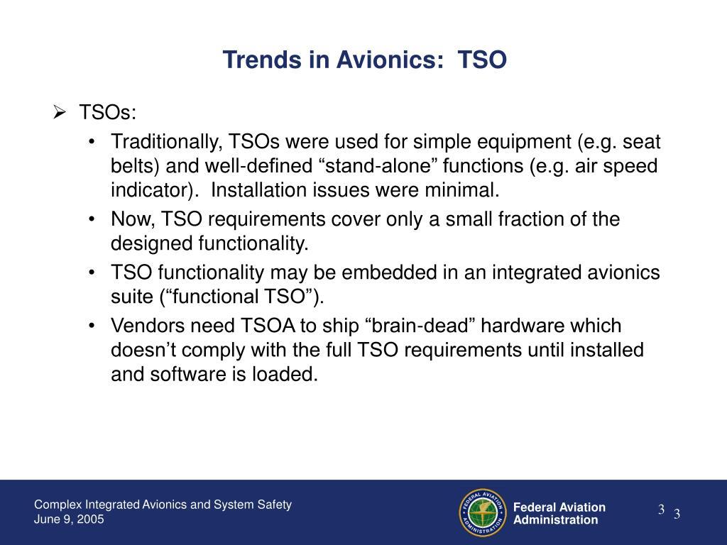 Trends in Avionics:  TSO