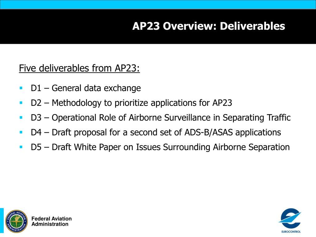 AP23 Overview: Deliverables