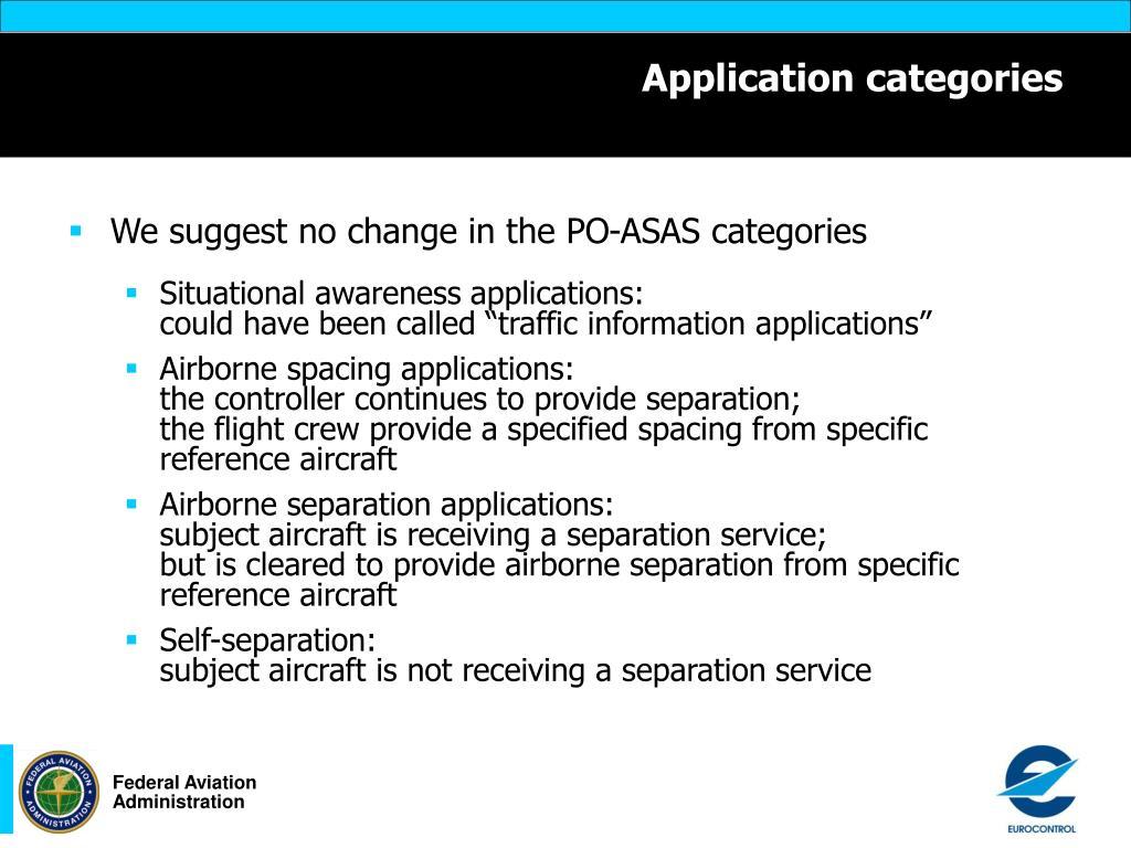 Application categories