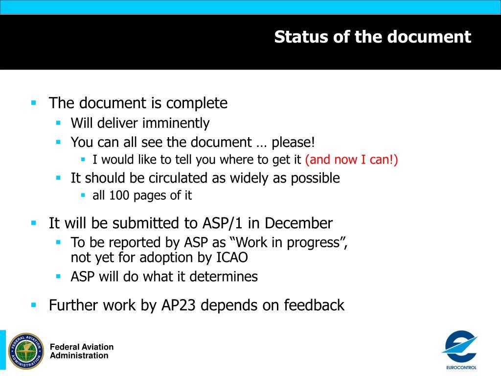 Status of the document