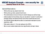 uscap analysis example new security fee elasticity values for air travel
