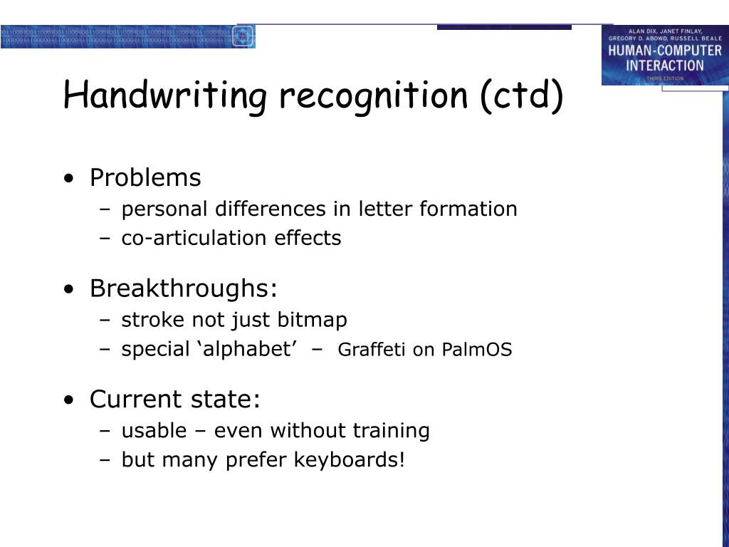 Handwriting recognition (ctd)