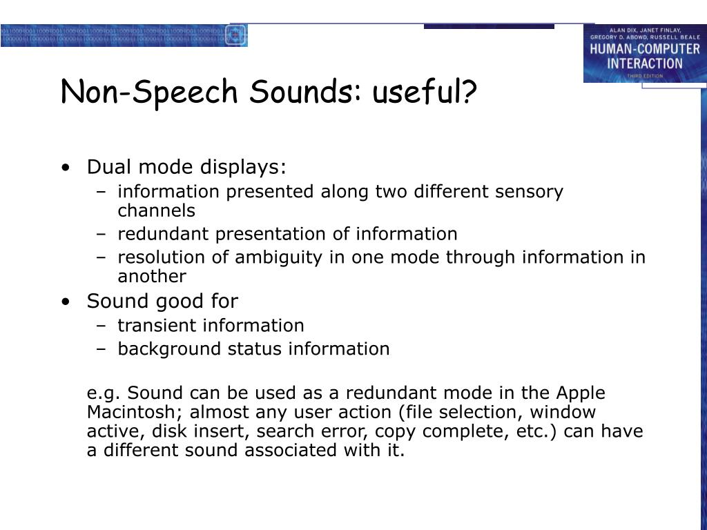 Non-Speech Sounds: useful?