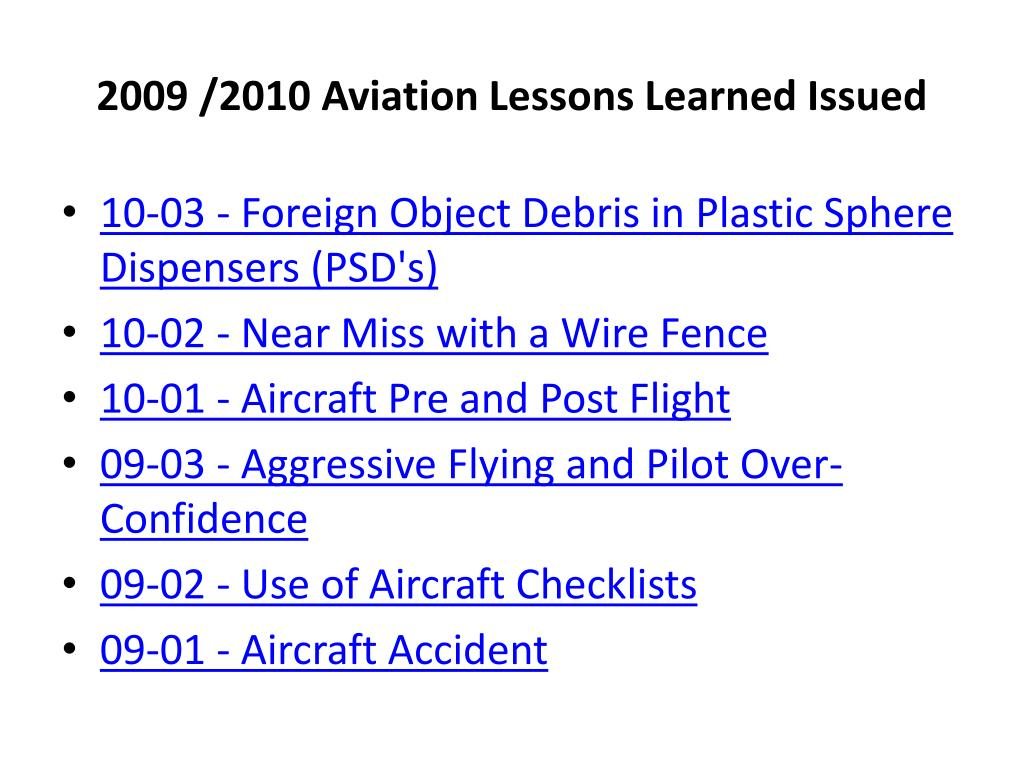 2009 /2010 Aviation Lessons Learned Issued