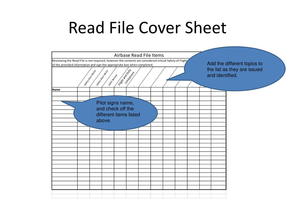 Read File Cover Sheet