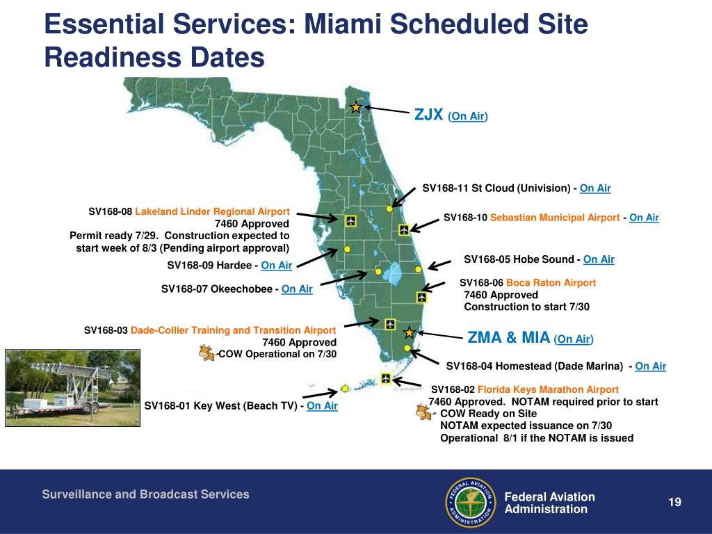 Essential Services: Miami Scheduled Site Readiness Dates