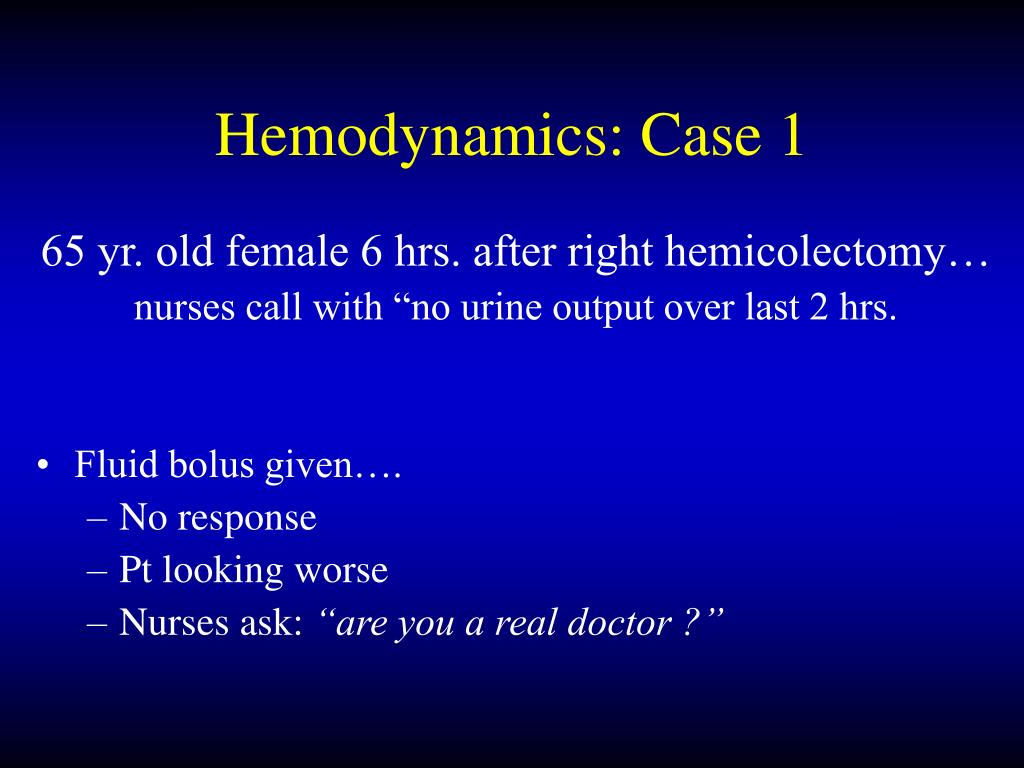 Hemodynamics: Case 1