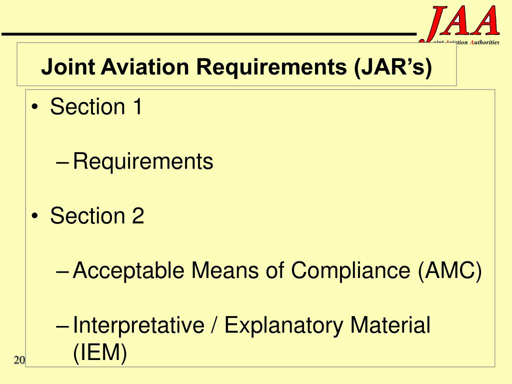 Joint Aviation Requirements (JAR's)