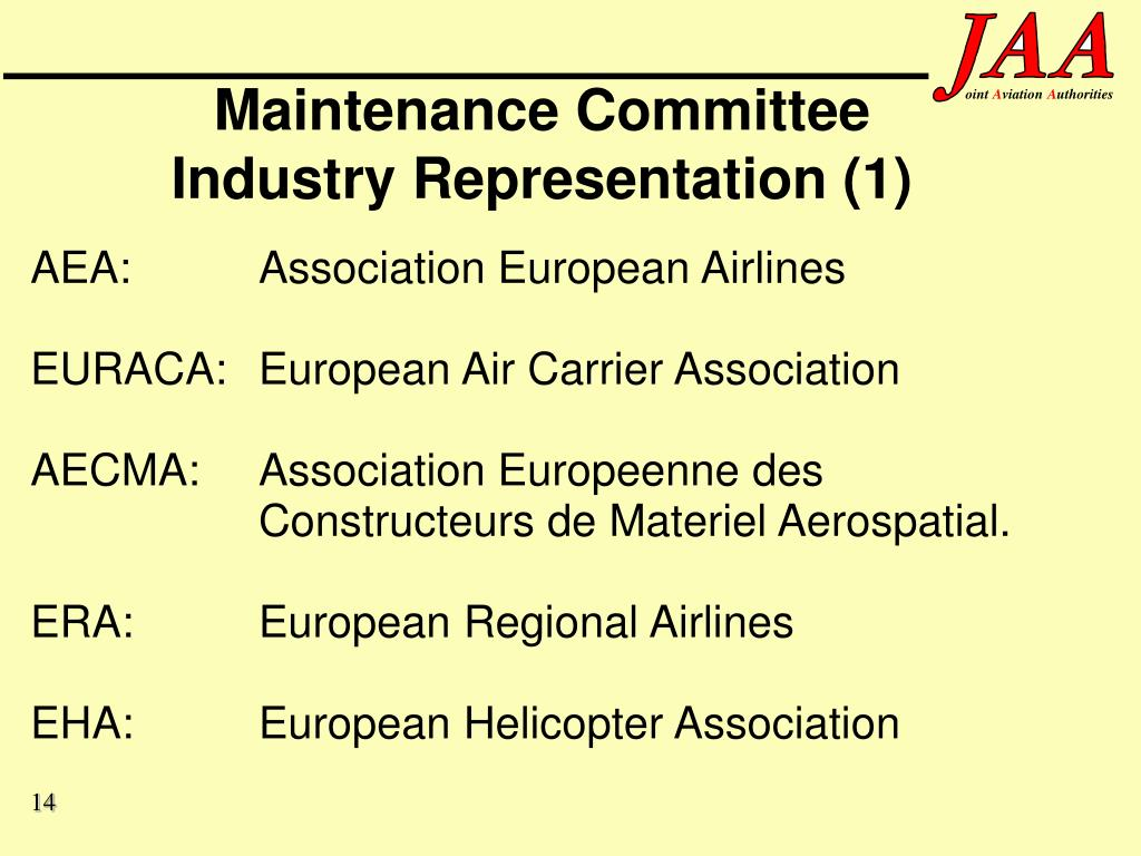 Maintenance Committee Industry Representation (1)