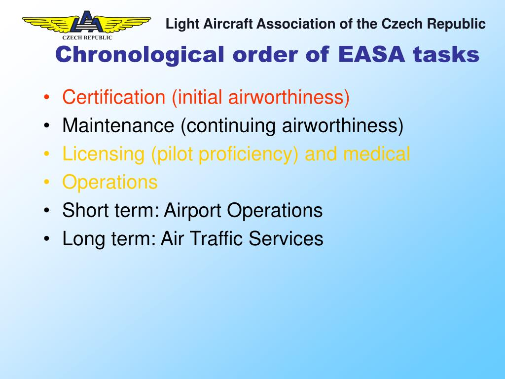 Chronological order of EASA tasks