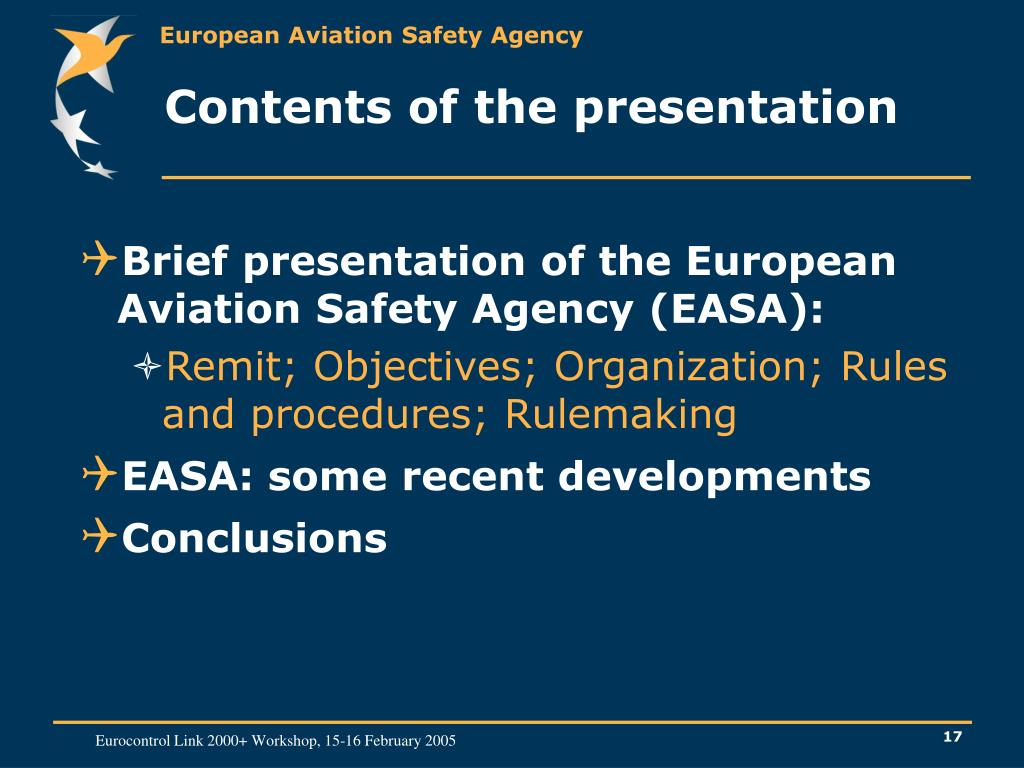 Contents of the presentation