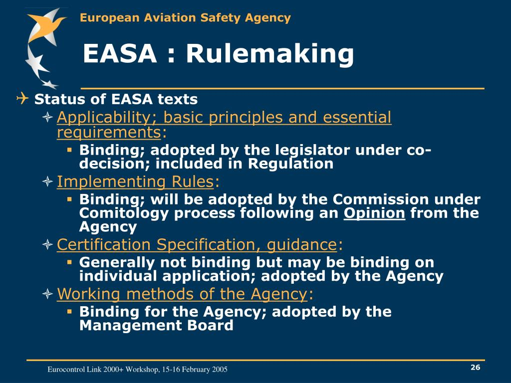EASA : Rulemaking