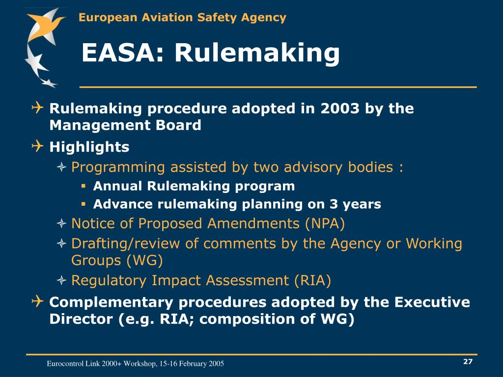 EASA: Rulemaking