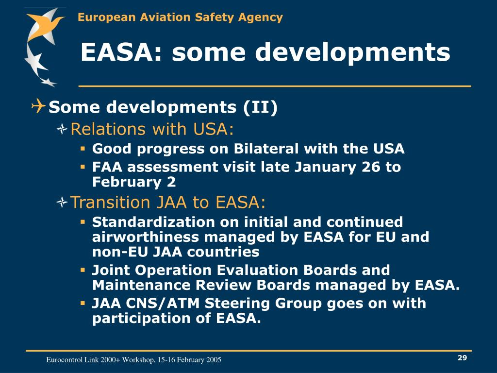 EASA: some developments