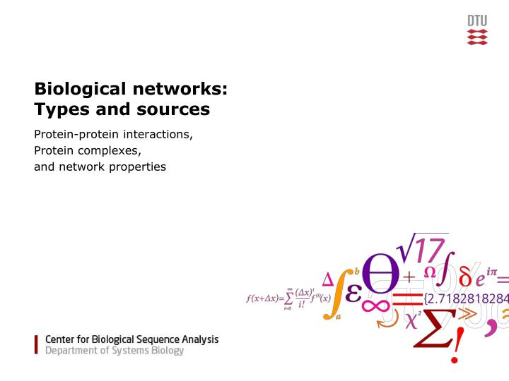 Biological networks types and sources