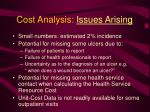 cost analysis issues arising