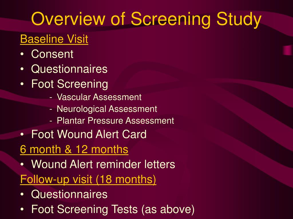 Overview of Screening Study