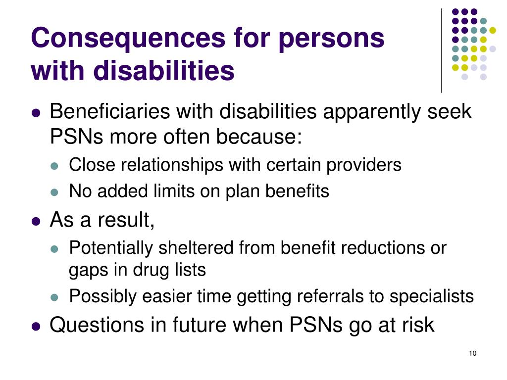 Consequences for persons with disabilities